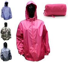 NEW WOMEN ALL COLOURS  ZIP FASTENING SIDE POCKET PAC-A-MAC KAGOUL JACKET