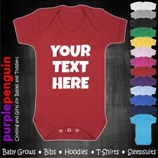 Personalised Text Baby Grow Vest Gift Funny Boy Girl Present Christening Shower