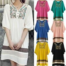 New Stylish Women Embroidered Maternity Loose Dress Pregnant Short Sleeve Dress