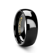 Thorsten RAVEN Rounded Black Tungsten Carbide Wedding Band Ring Comfort Fit NEW