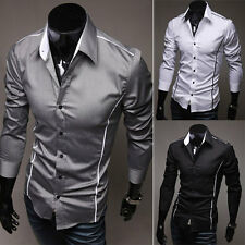 New Luxury Mens Long Sleeve Casual Slim Fit Stylish Dress Shirts 3 Colors