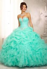 Stock Bead Quinceanera Dress Ball Gown Evening Party Pageant Prom Dress Gown