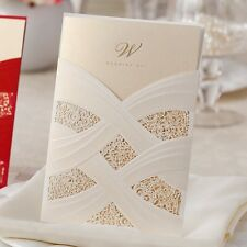 Elegant White Linked Ribbons Wedding Invitations Cards with Envelopes, Seals