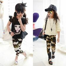 Classy Baby Girl Camo Pants Tight Stretch Camouflage Slim Legging Trousers 2-7Y