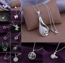 New! Wholesale women Fashion Jewelry Sterling silver necklace Beautiful gift+box