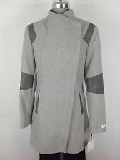 Calvin Klein NWT Modern Light Gray /Faux leather trimed Asymetrical  Coat