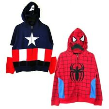 Spider Man Captain America Boys Costume Hoodie Hooded Jacket FZ1802 Sz 4-18 year