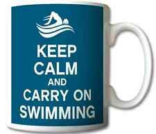 KEEP CALM AND CARRY ON SWIMMING GIFT/PRESENT MUG/CUP