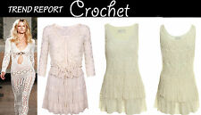 NEW IN LADIES WOMEN FLORAL CROCHET LACE DETAILED BOHO STYLE TUNIC DRESS CARDIGAN