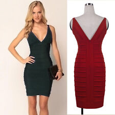 Hot Women Sexy Deep V-Neck Style Bodycon Party Pencil Cocktail Work Mini Dresses