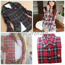 Women Button Down Lapel Casual Shirt Plaids Checks Flannel Cotton Tops Blouse W