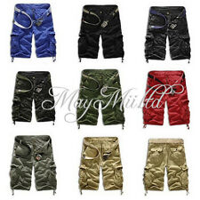 Men's Casual Short Cargo Combat Camo Camouflage Overall Shorts Sports Pants W