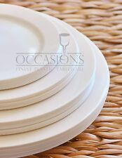 "Bulk, "" Burlap Wedding Party "" Plastic Disposable Bone / Ivory  or White Plates"
