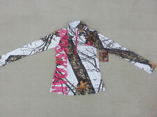 Mossy Oak Womens White Camo Athletic Jacket 1/4 Zip Up Hoody Camouflage S M L XL