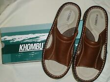 "*NEW*""Khombu"" Mens Premium Quality Leather Slide Sandals in Brown/Several Sizes/"