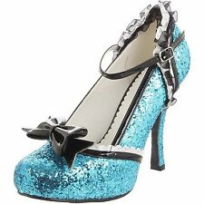 ELLIE Shoes High Heel Glitter Pump Lace Trim Removable Bow 453-LACEY Turquoise