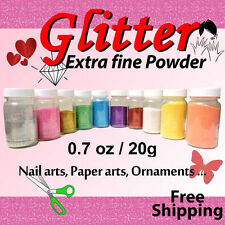 DIY Glitter Powder Extra Fine - 20g / o.7oz Choose from 7 Colors - Nail Art  ...