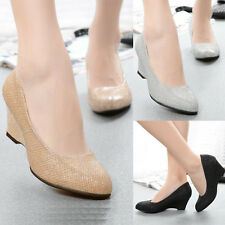 Women Sexy Office Silver Black Round Toe Wedge High Heels Pumps Shoes Size 6 7 8