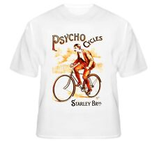 PSYCHO CYCLES STARLEY BROS. COVENTRY UK VINTAGE BICYCLE ADVERTISING T-SHIRT Bike