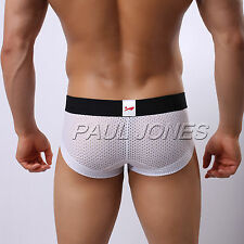 SEXY Men's Low Rise Underwear Boxer Briefs Trunks Panties Mesh Holes Shorts NEW