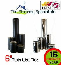 """Stainless Steel Twin Wall Insulated Flue 200/300/400/500/800/1000 6""""Pipe + Black"""