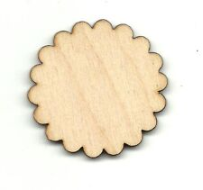 Scalloped Circle Flower Unfinished Wood Shapes Craft Supplies Laser Cut DIY 87