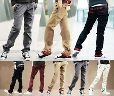 Youth Mens Stylish Jeans Straight Slim Fit Trousers Casual Cargo Long Pants