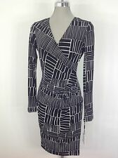 Calvin Klein Elegant Black/White Geometric Print Long Sleeve Faux Wrap Dress