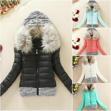 NEW women's winter coat fur collar hooded cotton jacket coat jacket stitching