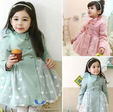 Kids Clothes Girls Long Sleeve Double-breasted Tulle Dust Coat Outerwear Sz2-7Y