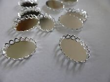 FIT 18MM X 13MM TRAY,FANCY OVAL CABOCHON MOUNTS, SILVER COLOUR CONNECTOR SETTING