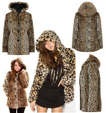 Ladies Animal Leopard Print Thick Faux Fur Coat Blazers Hooded Jacket Outerwear
