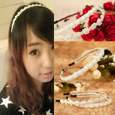 New Chic 2 Style Korean Women Girl Pearl Lace Hair Band Headband Accessories