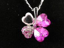 Silver Plated and Rhinestone Crystal Lucky Four Leaf Clover Necklace 3 Colours