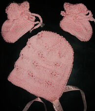 PINK BONNET or BEANIE and BOOTEES SET HAND KNITTED BRAND NEW