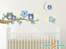 Owl Fabric Wall Decals, Set of 6 Owls with Branch, Stars, Moon, 2 Color Options