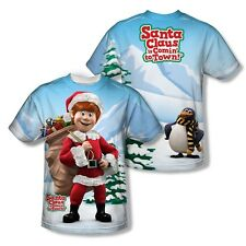 SANTA CLAUS IS COMIN TO TOWN FRONT & BACK SUBLIMATION T SHIRT S M LG XL 2XL 3XL
