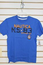 Nautica Boy's Cobalt Blue Short Sleeve T-Shirt Size S-M Brand New With Tags