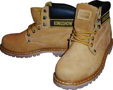 KINGSHOW Men Waterproof Winter Snow Leather Boots Work Wheat