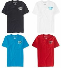 NWT Men Aeropostale  Aero 1987 v-neck graphic t shirt M L XL 2XL 3XL 4 colors