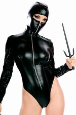 Black Leather Toxic Hooded Ninja Teddy Female Costume LC8625 adults Clothes 2014