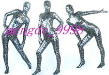 NEW SUIT SHINY SILVER FANCY LEOPARD FULL BODY CATSUIT COSTUMES UNISEX #X372