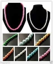 New Fashion Women Multi Colored Glass Pearl Jewelry Necklace 1 strand Findings