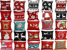 New Style100% COTTON CHRISTMAS FESTIVE CUSHION COVERS COVERS PILLOW CASE  18x18""