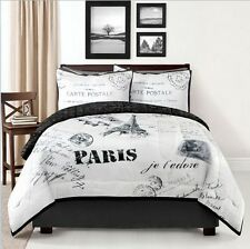 PARIS POSTCARD COMFORTER SET EIFFEL TOWER WHITE BLACK LONDON FRENCH bedding NEW