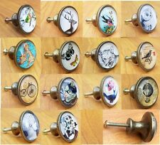 Vintage Style Glass & Metal Knobs Door Drawer Cupboard Handles Pull Knob