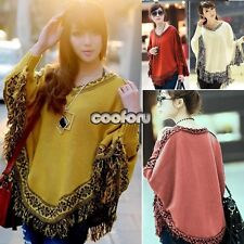 Women Retro Batwing Sleeve Tassels Cloak Poncho Tops Knitted Sweater Coat CO99