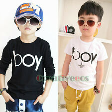 Kids Toddlers Boys Fashion Tees Letters boy Print Casual Cotton Tops T-shirt New
