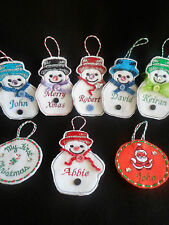 Christmas Embroidered Personalised Tree Decorations