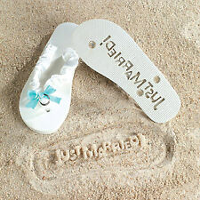 Brides Flip Flops JUST MARRIED Sand IMPRINT Something Blue Shower Wedding Gift